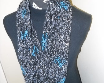 Soft, Drapey Wide Cowl / Neck Warmer / Infinity Scarf - Black / Gray / Turquoise