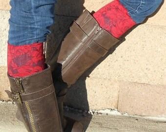 STRETCH LACE BOOT Cuffs - Red