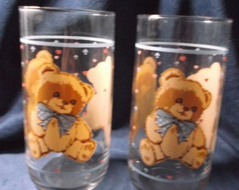 Country Teddy Bear Glass Tumblers set of 2