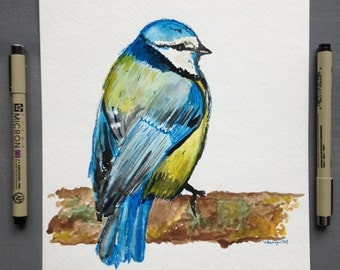 Finch Bird-Original Blue and Yellow Watercolor 8x10 by Forest Woodland Cabin Art