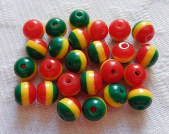25  Red Yellow & Green Striped Round Acrylic Resin Beads  8mm