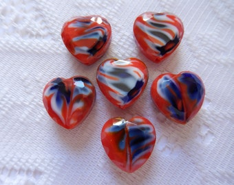 5  Red White & Blue Millefiori Faceted Heart Lampwork Glass Beads  20mm