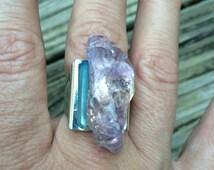 Purple Ametrine & Blue Aqua Aura Crystal handmade adjustable ring metaphysical magick new age hippie pagan wicca witch boho bohemian stone