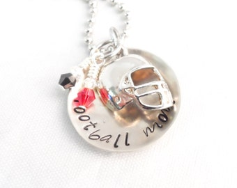 HAND STAMPED STAMPED - Football Mom Necklace, Mom Jewelry, Sports Jewelry, Team Colors with keychain option