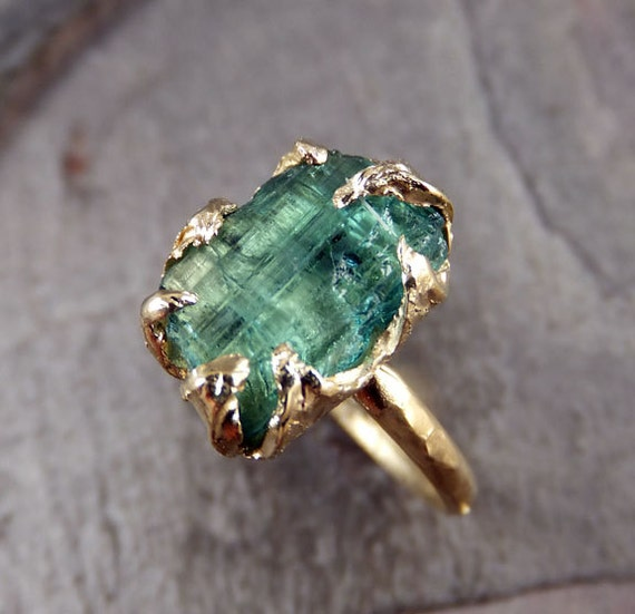 Raw Sea Green Tourmaline Gold Ring Rough Uncut Gemstone