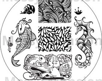 Nail Art Stamping Image plaque MM29 - Waterworld