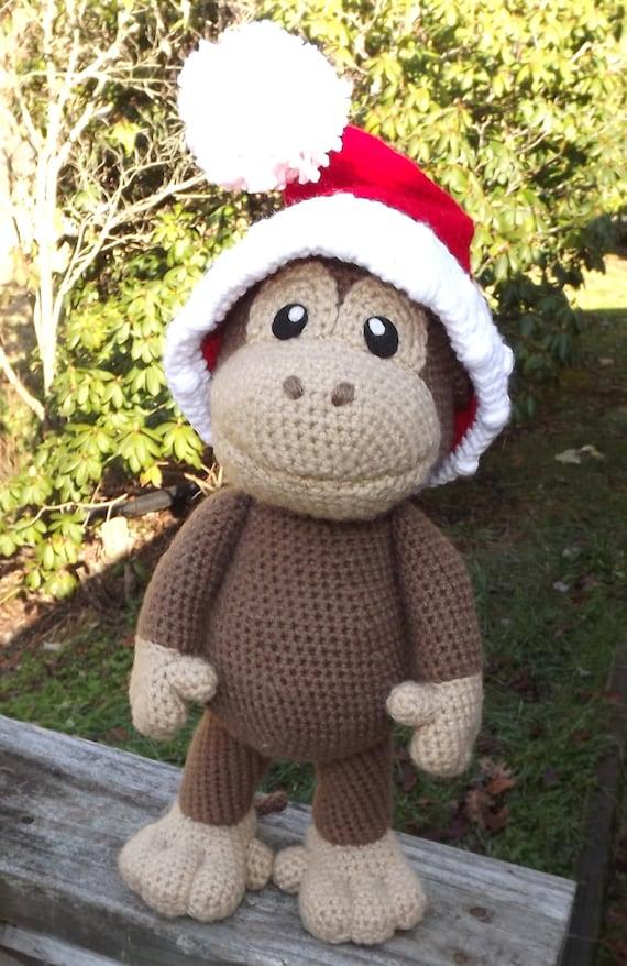 Large Baby Monkey Amigurumi Pattern with Bonus Santa Hat ...