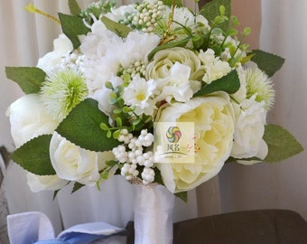 wedding bouquet artificial real touch flower peony, rose,etc