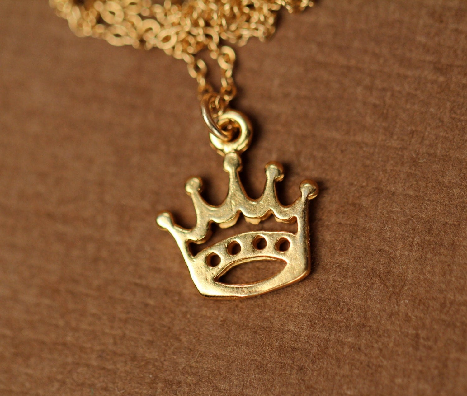 Crown Necklace Gold Crown Tiny Gold Crown Princess
