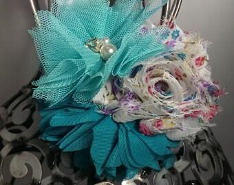 Aqua headband, aqua and turquoise  flower headband, aqua hair accessory, floral vintage print soft headband, girls headband, hair accessory