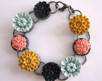 Downton Abbey Flower Charm Bracelet