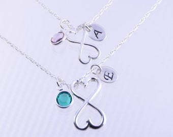 Mother daughter gift, Mother daughter heart infinity necklace set, Heart infinity necklaces, Love Forever