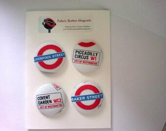 London Ungerground fabric covered button fridge magnets set of 4