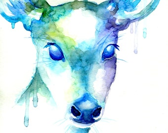 Rain Deer - Abstract Doe Painting - Print - Blue, Green, Purple