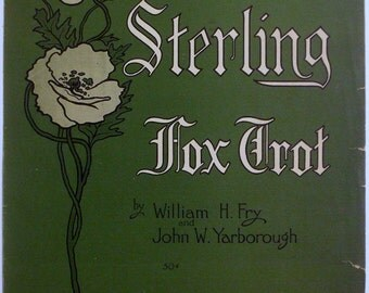 Sterling Fox Trot Antique 11 x 14 Large Format 1915 Sheet Music