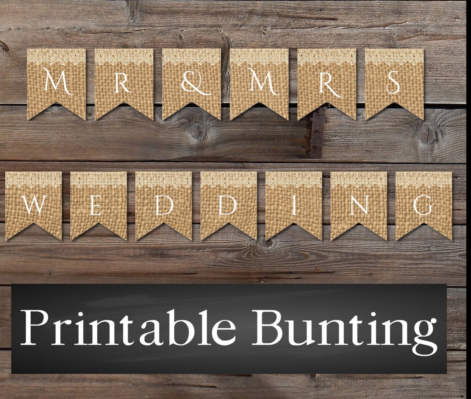 Cake Bunting Instant Download Burlap Lace Rustic Banner