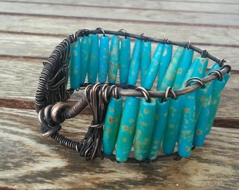 Turquoise & Wire Wrapped Copper Bangle / Adjustable