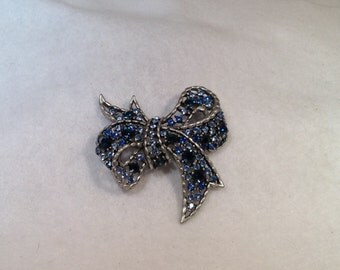 Vintage Blue Bow Brooch