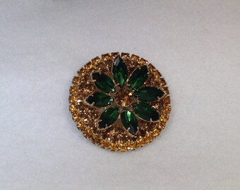 Brown and Green Vintage Brooch