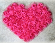 Fuchsia Chiffon Rosette Heart Applique for Sewing, Crafting, Altered Art etc AP-021