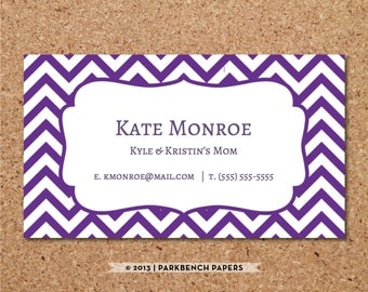 Business Card Template - Purple Chevron -  DIY Editable Word Template, Instant Download, Printable
