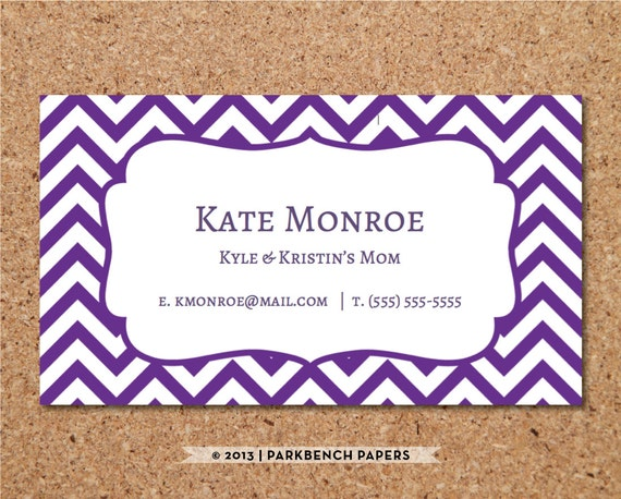 Business Card Template Purple Chevron DIY Editable Word