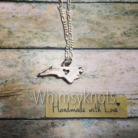 North Carolina shaped charm necklace . Personalized, Hand-Stamped Jewelry