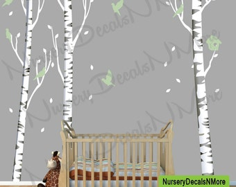 Repositionable Birch Tree Decal, More Realistic, Reusable, White Birch Tree (3 tree/with birds/gray bark) OBT