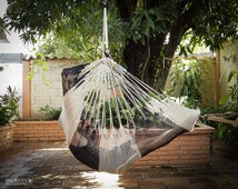 Hanging Chair | Extra Extension (6.5 ft) | Caribbean Style | Cloud-like Comfort | Washable | Dark Blue & Cream