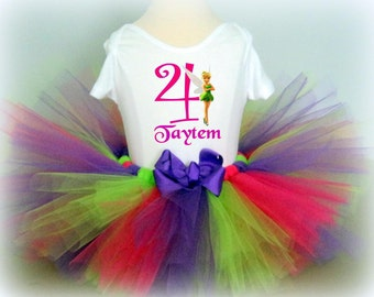 Tinkerbell Birthday Tutu Outfit with Bow