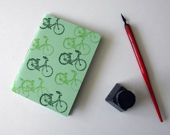 A6 Green Bicycle Notebook Hand Sewn with Stamped Soft Cover