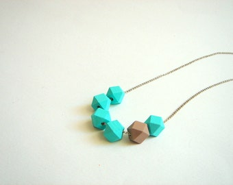 Geometric Necklace ,Pastel Faceted  Wood Geometric Necklace,Geometric Jewelry