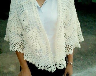 Crochet Shawl, Wedding shawl, Stole Wrap, Ivory Shawl, Bridal shawl, bridal accessories.