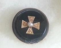 Black Onyx Pearl Broach Pin 50s Jewelry Vintage  RD195 JBX1C2 DeAnnasAttic