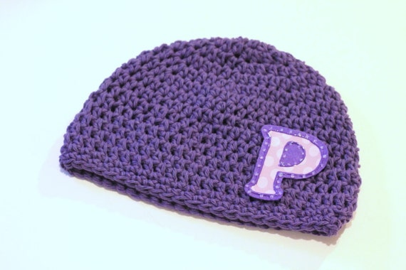 Hat Kids Hats Accessory Monogrammed Initial Hat, Boys or Girls, Purple Crochet Cotton with Lavender Initial in Polka Dots Free Shipping US