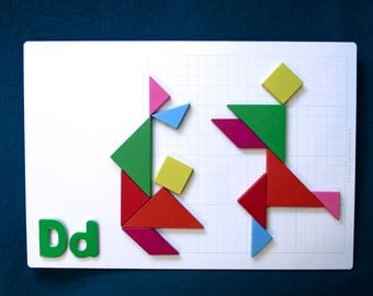 Customizable Tangram Picture Wall Art D Dance G Gymnastics Collage on Dry Erase Board Patterns Color Literacy & Math Picture