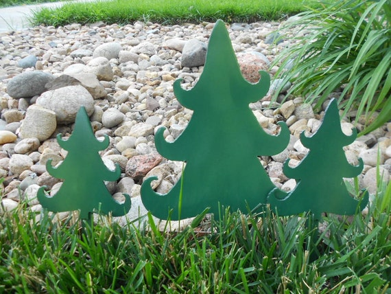 Items Similar To Metal Christmas Tree Garden Stake