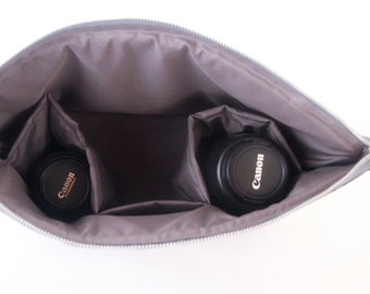 Dslr Camera bag insert - Padded divider - color Grey