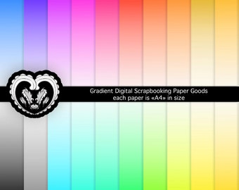 Gradients Colored Sheets Instant Download Digital Papers, A4, set of 20