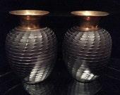 Pair Antique Art Deco Brass Turned Wooden Urns Vases Unique Wood Vase Sculpture Set Of 2