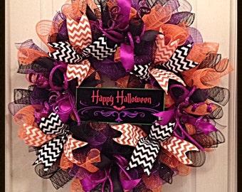 Happy Halloween Deco Mesh Wreath/Halloween Deco Mesh Wreath