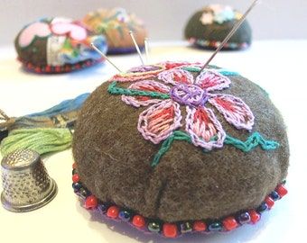 Flower, Hand Embroidery Pincushion, Large Felt Pincushion
