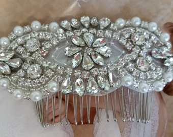 Wedding Hair Comb - Rhinestoen & Pearl Hair Comb - Style H0772