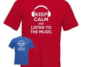 Keep calm and listen to the music, disco DJ, headphones, music T-shirt mens womens Present Gift idea