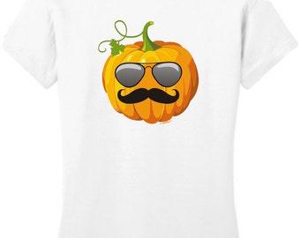 Aviators and Mustache Jack O'Lantern Halloween Junior's T-Shirt DT6001 - HW-129