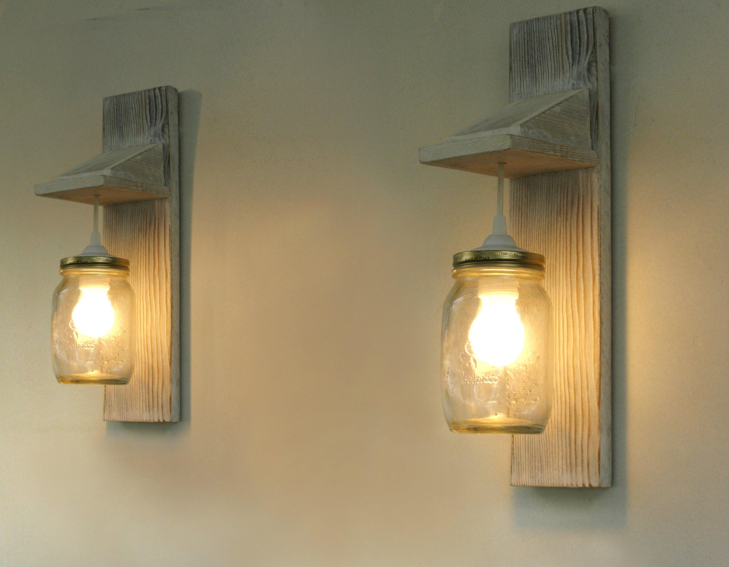 pair of wall lamp reclaimed wood wall sconce mason jar - 🔎zoom