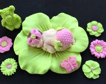 Fondant baby girl lime pink cake topper for Baby Shower, Birthday, Party Favor