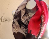 Beautiful gift for her! 100% Wool infinity scarf,cute Gray with red ,black print scarf, handmade wool scarf,Modern Wool scarf