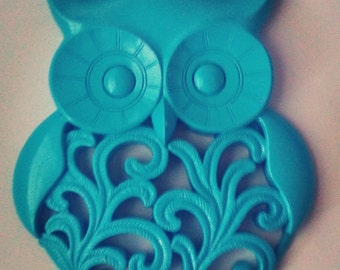Turquoise owl wall decor, owl wall art