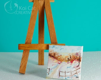A 2x2 original oil painting and magnet of a winter landscape